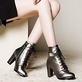 billige Mote Boots-Dame Støvler Tykk hæl Rund Tå Glidelås / Snøring Kunstlær Ankelstøvler Trendy støvler Vinter Svart / Sølv / Lysebrun