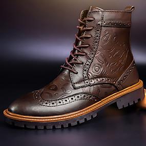 voordelige Wijdere maten schoenen-Heren Enkellaarsjes Leer Herfst / Winter Informeel Laarzen Korte laarsjes / Enkellaarsjes Zwart / Bruin / Veters / ulko- / Legerlaarzen / EU40
