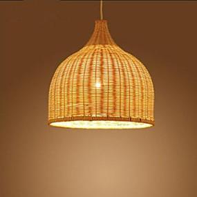 abordables Plafonniers-Lampe suspendue Lumière d'ambiance Chrome Métal Bois / Bambou Designers 110-120V / 220-240V Ampoule non incluse / E26 / E27