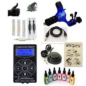 billige Tatoveringssett for nybegynnere-Tattoo Machine Startkit - 1 pcs tattoo maskiner med 7 x 15 ml tatovering blekk, Profesjonell LED strømforsyning Etui inkludert 1 x roterende tatoveringsmaskin til lining og skyggelegging