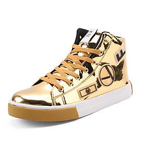 baratos Tênis Masculino-Homens Sapatos Confortáveis Couro Envernizado Primavera / Outono Tênis Botas Cano Médio Preto / Dourado / Prata / Festas & Noite / Festas & Noite / EU40