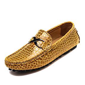 baratos Sapatilhas e Mocassins Masculinos-Homens Sapatos Confortáveis Couro Primavera / Outono Mocassins e Slip-Ons Preto / Amarelo / Azul Escuro / Combinação / Sapatos de Condução
