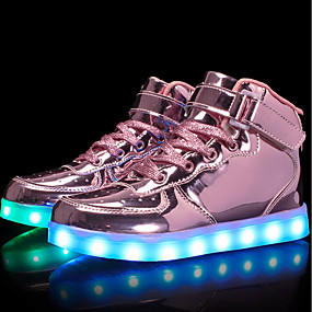 cheap LED Shoes-Girls' Shoes Patent Leather / Customized Materials Fall Comfort / Light Up Shoes Sneakers Walking Shoes Lace-up / Hook & Loop / LED for