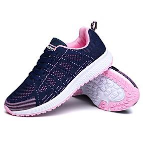 baratos Sapatos Esportivos Femininos-Mulheres Tênis Ponta Redonda Malha Respirável Solados com Luzes Corrida Primavera / Outono Preto / Cinzento / Azul+Rosa