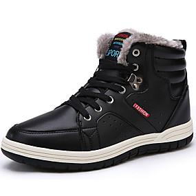 baratos Botas Masculinas-Homens Sapatos Confortáveis Pele Napa Inverno Casual Botas Preto / Marron / Azul Escuro / Cadarço / Ao ar livre