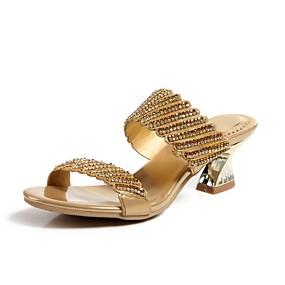 voordelige Wijdere maten schoenen-Dames Sandalen Open teen  Strass / Kristal / Sprankelend glitter Kunstleer Modieuze laarzen Lente / Zomer Zwart / Zilver / Paars / Feesten & Uitgaan / Gesp / Feesten & Uitgaan