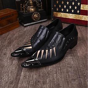 halpa Miesten Oxford-kengät-Miesten Uutuushahmot Nappanahka Kevät / Kesä Vintage / Comfort Oxford-kengät Musta / Häät / Juhlat