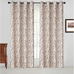 cheap Curtains & Drapes-Blackout Curtains Drapes Bedroom Floral Polyester Blend Jacquard