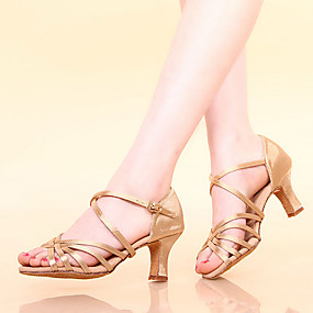 87d5f0d59f7 Shall We® Women s Latin Shoes   Ballroom Shoes Satin Sandal Chunky Heel Non  Customizable Dance Shoes Bronze   Champagne   Black   Leather   Leather