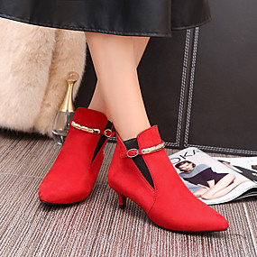cheap Women's Boots-Women's Leatherette Fall / Winter Comfort Boots Walking Shoes Kitten Heel Pointed Toe Booties / Ankle Boots Buckle Gray / Red / Green