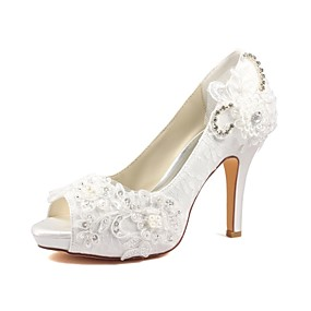 913f5061542 Women s Shoes Stretch Satin Spring   Summer Basic Pump Wedding Shoes  Stiletto Heel Peep Toe Crystal   Pearl Ivory   Party   Evening
