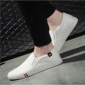 cheap Men's Sneakers-Men's Comfort Shoes Canvas Summer Sneakers White / Black / Blue