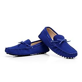 baratos Mocassins Femininos-Mulheres Sapatos de Barco Sem Salto Ponta Redonda / Dedo Fechado Laço Couro / Camurça Mocassim Primavera / Verão Roxo / Rosa claro / Azul Real