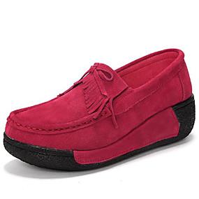 voordelige Damesinstappers & loafers-Dames Loafers & Slip-Ons Sleehak Ronde Teen Leer Comfortabel Lente / Herfst Rood / Blauw / Roze
