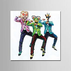 levne Abstraktní malby-Hang-malované olejomalba Ručně malované - Zvířata Současný styl Jednoduchý Moderní Obsahovat vnitřní rám / Reprodukce plátna