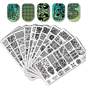 cheap -50%-10/20 pcs Lace stamping plate polish Nail art transfer template,1 square transparent stamp, Stamping Tool Template Flower / Animal Nail Art Design Fashionable Design Stylish