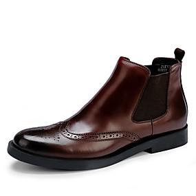 baratos Botas Masculinas-Homens Fashion Boots Pele Outono / Inverno Casual Botas Botas Cano Médio Preto / Vinho / Ao ar livre / Coturnos