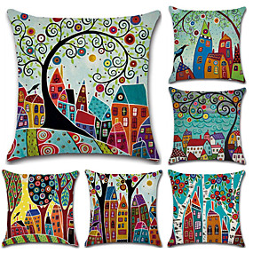 cheap Others-Pack of 5, Botanical Bohemian Style Retro Cotton Linen Decorative Square Throw Pillow Covers Set Cushion Case for Sofa Bedroom Car