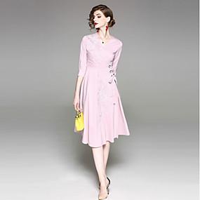 85e495f826ff Γυναικεία Εξόδου Βασικό   Κομψό στυλ street Βαμβάκι Θήκη Φόρεμα - Συμπαγές  Χρώμα Μίντι Λαιμόκοψη V