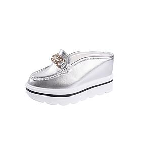 voordelige Damesinstappers & loafers-Dames Loafers & Slip-Ons Platte hak Ronde Teen / Gevlokt / PU Nul Comfortabel Nul Herfst / Winter Goud / Wit / Zilver