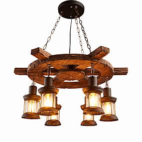 abordables Candelabros-6-luz Industrial Lámparas Colgantes Luz Downlight Acabados Pintados Madera / Bambú Madera / Bambú Mini Estilo 110-120V / 220-240V Bombilla no incluida / FCC / E26 / E27