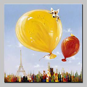 levne Abstraktní malby-Hang-malované olejomalba Ručně malované - Zvířata Zvířata Jednoduchý Moderní Obsahovat vnitřní rám / Reprodukce plátna