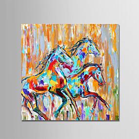 levne Abstraktní malby-Hang-malované olejomalba Ručně malované - Zvířata Zvířata Jednoduchý Moderní Bez vnitřní rám / Válcované plátno
