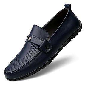 baratos Sapatilhas e Mocassins Masculinos-Homens Sapatos Confortáveis Pele Napa / Pele Primavera / Outono Mocassins e Slip-Ons Preto / Marron / Azul