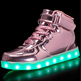dcc9137b82148 Boys    Girls  Shoes PU Spring Comfort   Light Up Shoes Sneakers Walking  Shoes Lace-up   Hook   Loop   LED for Silver   Blue   Pink