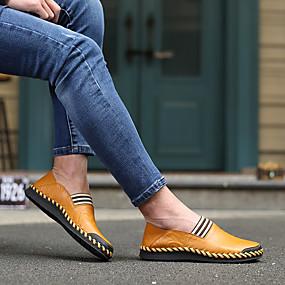 baratos Sapatilhas e Mocassins Masculinos-Homens Sapatos Confortáveis Pele Napa / Pele Primavera / Verão Mocassins e Slip-Ons Caminhada Preto / Amarelo / Marron