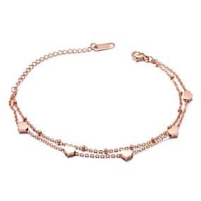 baratos Pulseira de Charme-Mulheres Pulseiras com Pendentes Coração senhoras Básico Aço Inoxidável Pulseira de jóias Ouro Rose Para Cerimônia Feriado