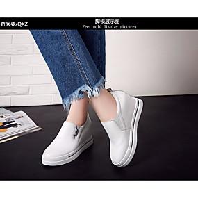 voordelige Damesinstappers & loafers-Dames Loafers & Slip-Ons Creepers Leer Comfortabel Lente / Herfst Wit / Zwart