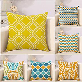 cheap Others-6 pcs Cotton / Linen Pillow Cover Novelty Pillow Pillow Case, Plaid / Checkered Geometric Color Block Geometric Classical