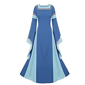 preiswerte Renovierung-Cosplay Mittelalterlich Renaissance Kostüm Damen Kleid Party Kostüme Kostüm Purpur / Blau / Rot Vintage Cosplay Langarm Eine Glocke