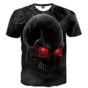 economico Offerte giornaliere-T-shirt Per uomo Serata Essenziale Con stampe, Teschi Rotonda Nero XL / Manica corta / Estate
