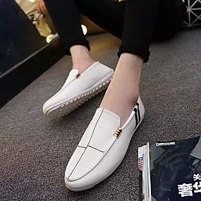 baratos Sapatos Náuticos Masculinos-Homens Mocassim Pele Primavera / Outono Sapatos de Barco Branco / Preto / Marron / Laço