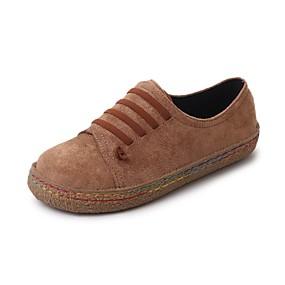 voordelige Damessneakers-Dames Sneakers Platte hak Ronde Teen Rubber Comfortabel Lente Grijs / Rood / Lichtbruin