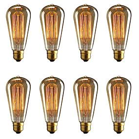billige Glødelampe-brelong 8 stk e27 40w st64 dimmable edison dekorative pære varm hvit ac220v / ac110v
