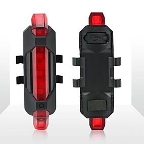 billige Sykkellykter og reflekser-Baklys til sykkel / sikkerhet lys / Baklys LED Sykkellykter Sykling Vanntett, Bærbar, Reise Størrelse Oppladbart Li-ion Batteri / USB 300 lm Oppladbar / Oppladsbare batterier Hvit Camping / Vandring