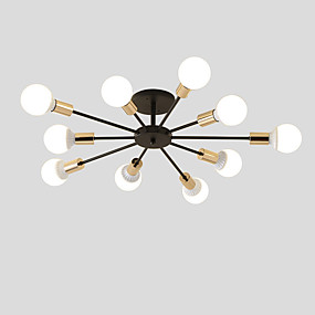 cheap Lighting Fixtures-10-Head Vintage Metal Semi Flush Mount Ceiling Light Living Room Dining Room Lighting Painted Finish
