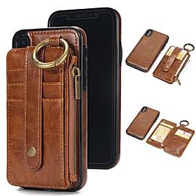 preiswerte iPhone Hüllen-case für iphone xr xs xs max brieftasche / kartenhalter / mit stand einfarbig hartes echtes leder für iphone x 8 8 plus 7 7plus 6s 6s plus se 5 5s