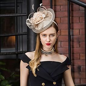 povoljno Kentucky Derby Hat-Lan Kentucky Derby Hat / Šeširi s Perje / Cvjetni print 1pc Vjenčanje / Zabava / večer Glava