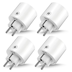 cheap Brand Salon-WAZA Smart Plug(EU) Mini Outlet Compatible with Amazon Alexa and Google Assistant, Wifi Enabled Remote Control Smart Socket with Timer Function, No Hub Required(4-Pack)