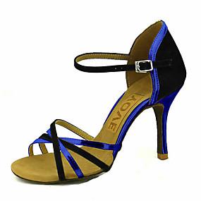 voordelige Wijdere maten schoenen-Dames Dansschoenen Fluweel Latin dansschoenen / Salsa dansschoenen Gesp / Gestrikt lint Sandalen / Hakken Speciale hak Aanpasbaar Rood / Blauw / Roze / Prestatie / Professioneel