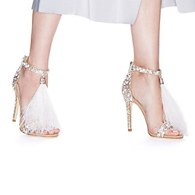 102d0a285f1 Women s Shoes Suede Summer Novelty   Basic Pump Wedding Shoes Stiletto Heel  Open Toe Rhinestone   Feather   Buckle White