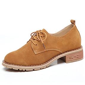 Női Cipő Fordított bőr Tavasz Kényelmes Félcipők blokk Heel Kerek orrú  Fekete   Barna 4fec48883c