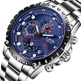 ราคาถูก -0.1-สำหรับผู้ชาย นาฬิกาตกแต่งข้อมือ สายการบิน ญี่ปุ่น นาฬิกาอิเล็กทรอนิกส์ (Quartz) สแตนเลส ดำ / เงิน 30 m กันน้ำ ปฏิทิน โครโนกราฟ ระบบอนาล็อก ความหรูหรา คลาสสิก แฟชั่น - เงิน / ดำ ดำ / ขาว Silver / Blue