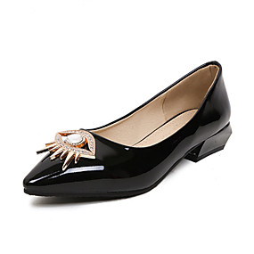 cheap Women's Flats-Women's Shoes Patent Leather Summer Comfort Flats Flat Heel Pointed Toe Beading Black / Silver / Red