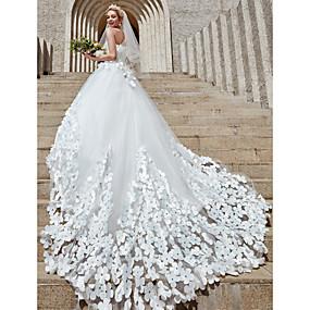 ราคาถูก LaurenCalaway-บอลกาวน์ ไร้สาย ชายกระโปรงคาทีดรัล Tulle ชุดแต่งงานที่ทำขึ้นเพื่อวัด กับ คริสตัล / ดอกไม้ โดย LAN TING BRIDE® / ชุดแต่งงานแบบมีสีสัน