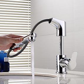 billige Ugentlige tilbud-Baderom Sink Tappekran - Træk-udsprøjte / Roterbar / Nytt Design Krom Vannrett Montering Enkelt Håndtak Et HullBath Taps / Messing